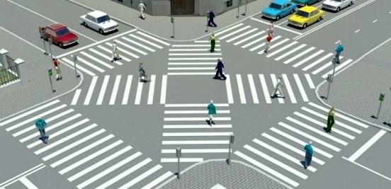 Пешеходный переход по диагонали