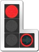 Светофор с дополнительной секцией и сигналом красного цвета ее контура
